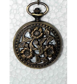 QUARTZ Flower Gandhi Style Pocket Watch Chain W19