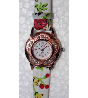 YB White & Off White Flower Leather Printed Strap For Woman And Girls Watch - For Girls Pack Of 2 - W-6410