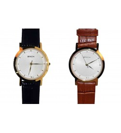 BINCHI Brown & Black Colour Straps Genuine Leather Watch For Girls & Womens Pack Of  2 - W6433