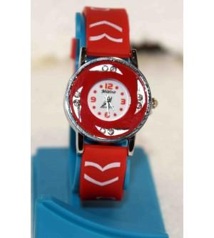 Misino Round Diamond Red Color Stylish Watch - For Women-W4