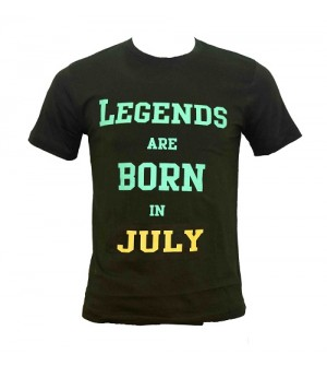 Legends Are Born In July Printed Round Neck Men's Green Printed T-Shirt T-6485
