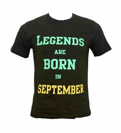 Legends Are Born In September Printed Round Neck Men's Green Printed T-Shirt T-6485