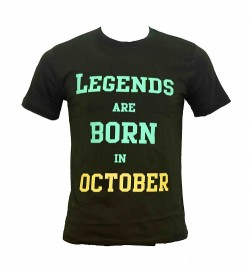 Legends Are Born In October Printed Round Neck Men's Green Printed T-Shirt T-6485