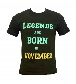 Legends Are Born In November Printed Round Neck Men's Green Printed T-Shirt T-6485