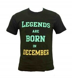 Legends Are Born In December Printed Round Neck Men's Green Printed T-Shirt T-6485