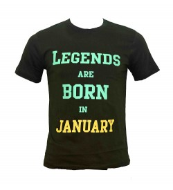 Legends Are Born In January Printed Round Neck Men's Green Printed T-Shirt T-6485