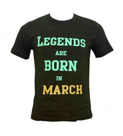 Legends Are Born In March Printed Round Neck Men's Green Printed T-Shirt T-6485