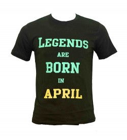 Legends Are Born In April Printed Round Neck Men's Green Printed T-Shirt T-6485