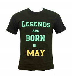 Legends Are Born In May Printed Round Neck Men's Green Printed T-Shirt T-6485