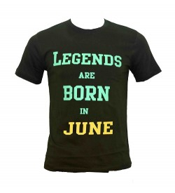 Legends Are Born In June Printed Round Neck Men's Green Printed T-Shirt T-6485
