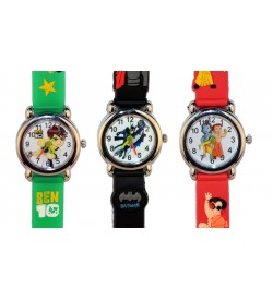 Chota Bheem Ben-10 Batman Red Green Black Colour Watch - For Boys & Girls Pack Of 4 - W6752