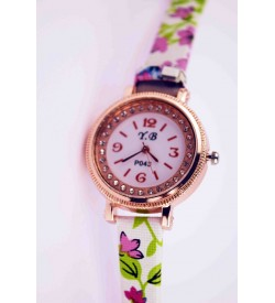 Y.B Light White Colour Flower Printed Watch Pack Of 2 For Gilrls & Women W-6621
