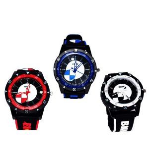 BNW Black Red Blue Designer Watch - For Boys Pack Of 3 - W-6801